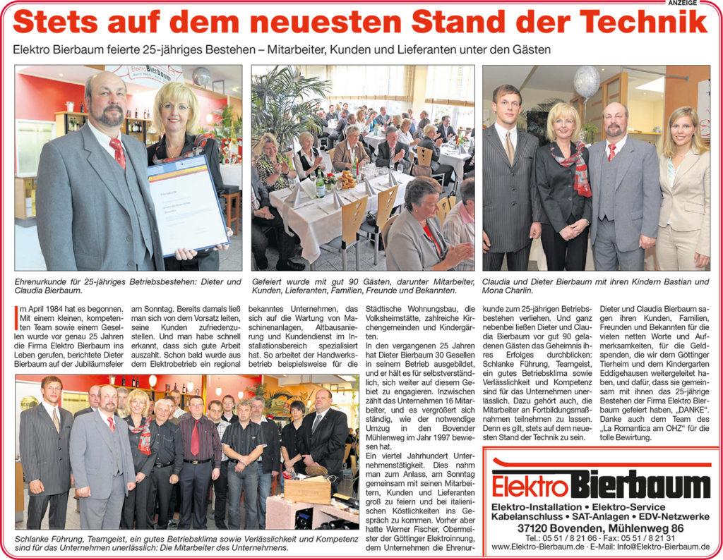 Artikel 25 Jahre Elektro Bierbaum