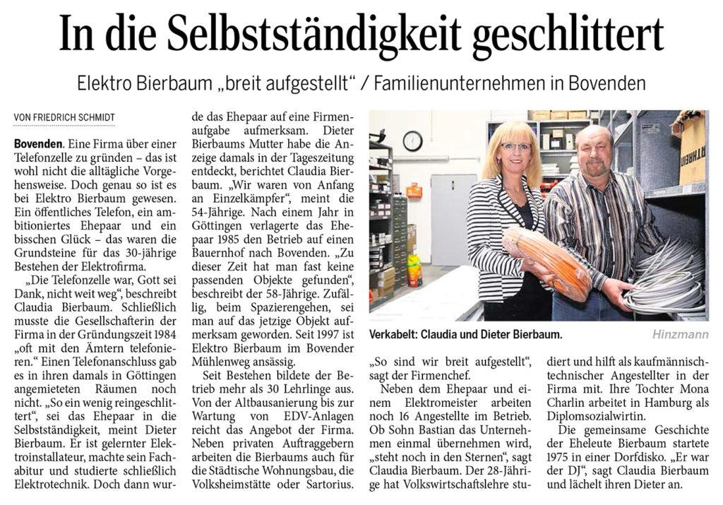 Artikel über die Firma Elektro Bierbaum