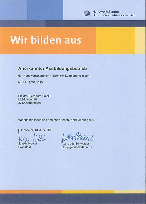 Urkunde anerkannter Ausbildungsbetrieb